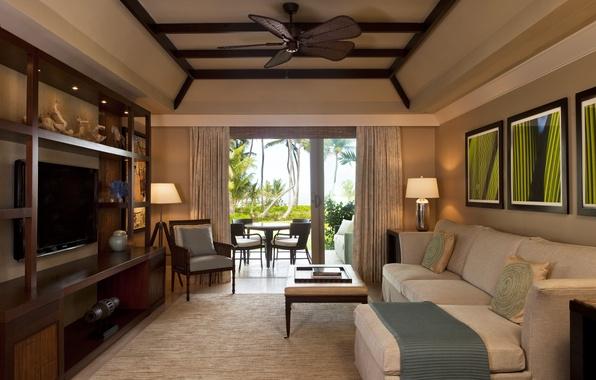 Картинка комната, диван, мебель, телевизор, кресла, картины, шторы, столик, стенка, room, пальмы., living, suite