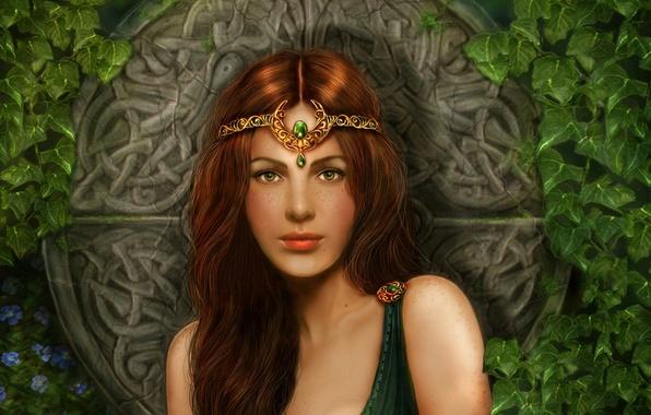 Картинка девушка, цветы, камни, узоры, растения, рыжая, girl, диадема, принцесса, flowers, плющ, кельтика, circle, Celtic princess