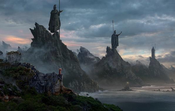Картинка море, лес, небо, горы, маяк, маг, статуи, свинцовое