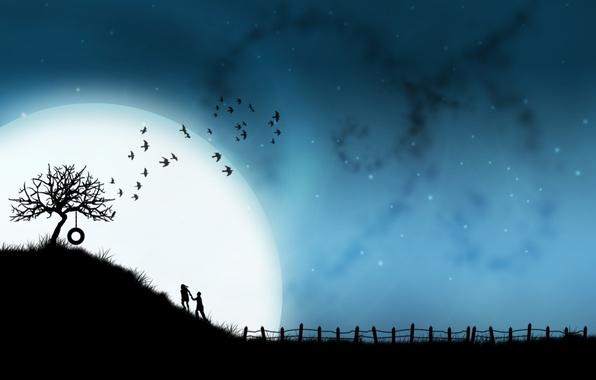 Фото обои любовь, юность, луна, вместе