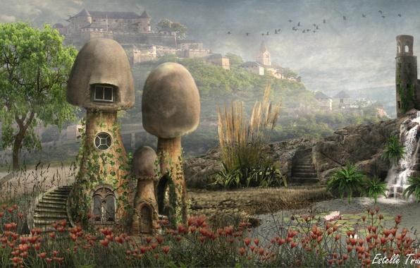 Картинка пейзаж, цветы, грибы, водопад, домики