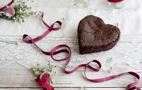 Картинка любовь, ленты, сердце, еда, торт, love, пирожное, holidays, cake, десерт, heart, food, праздники, сладкое, dessert, …