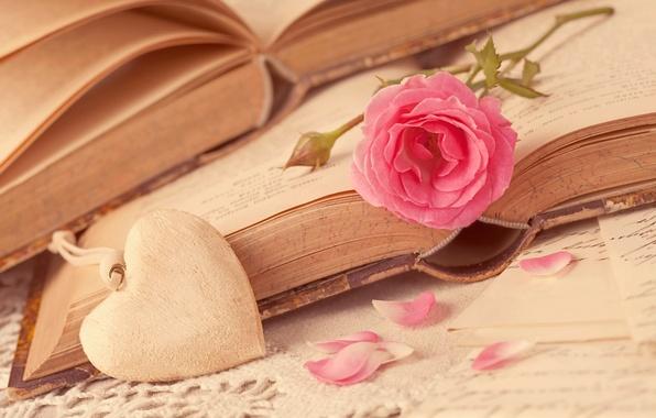 Картинка цветок, любовь, сердце, роза, книги, лепестки, love, rose, flower, i love you, heart, pink, romantic, …