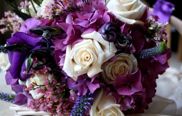 Картинка цветок, фиолетовый, цветы, цвет, розы, гортензия, эустома
