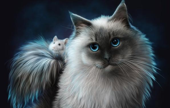 Картинка кошка, животные, кот, мышь, друзья