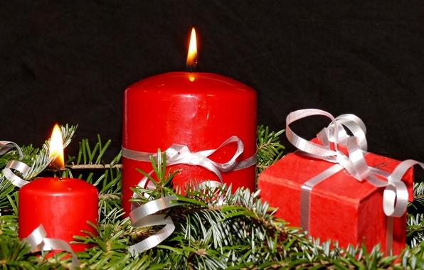 Картинка праздник, новый год, рождество, свечи, подарки, ёлка, christmas, new year, хвоя