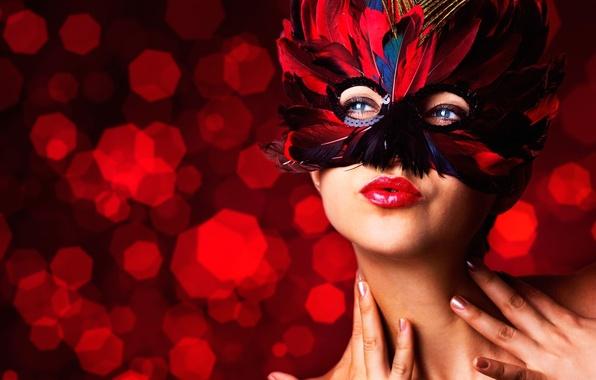 Картинка девушка, лицо, перья, руки, маска, маскарад