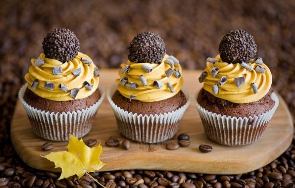 Картинка осень, желтый, лист, кофе, шоколад, зерна, конфеты, крем, десерт, выпечка, сладкое, кексы, Anna Verdina