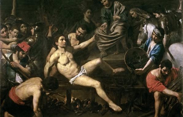 Картинка картина, религия, жанровая, мифология, Мученичество Святого Лаврентия, Валантен де Булонь