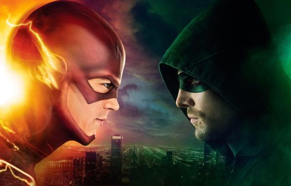 Картинка city, green, sky, eyes, The, man, crossover, hero, mask, building, Green Arrow, Arrow, DC Comics, …