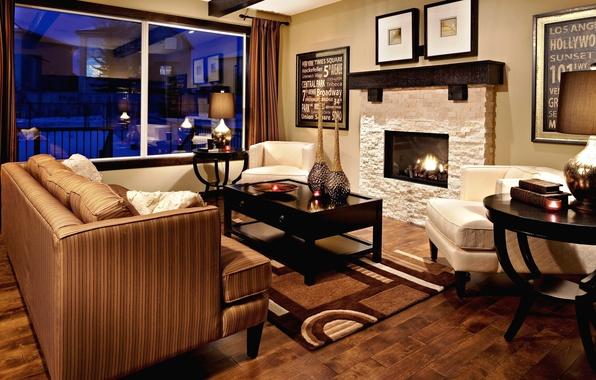 Картинка цвета, дизайн, стиль, стол, комната, диван, огонь, мебель, интерьер, подушки, окно, камин, золотой, коричневый, бронзовый