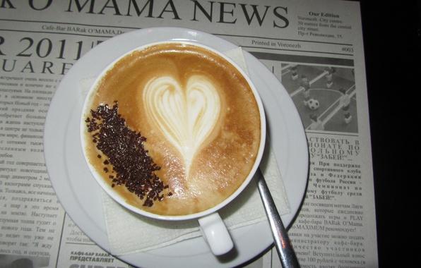 Картинка сердце, кофе, кружка, газета