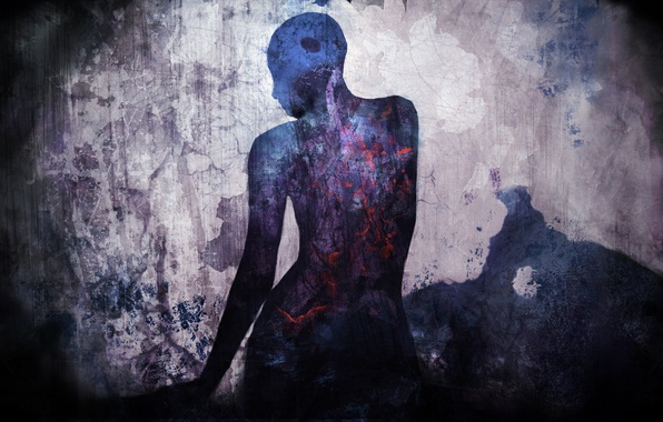 Картинка цвета, настроение, человек, силуэт, арт, винтаж