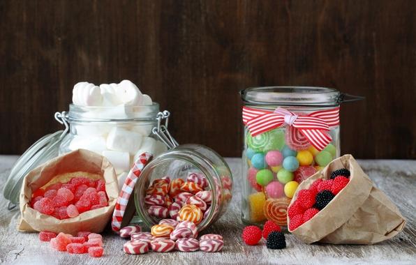 Картинка конфеты, баночки, сладости, леденцы, сахар, мармелад, пакетики, маршмэллоу