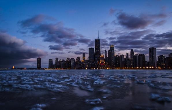 Картинка небо, облака, озеро, Чикаго, сумерки, Иллинойс, замороженные, озеро Мичиган, Франклин-Центр, Центр Джона Хэнкока, 900 North …