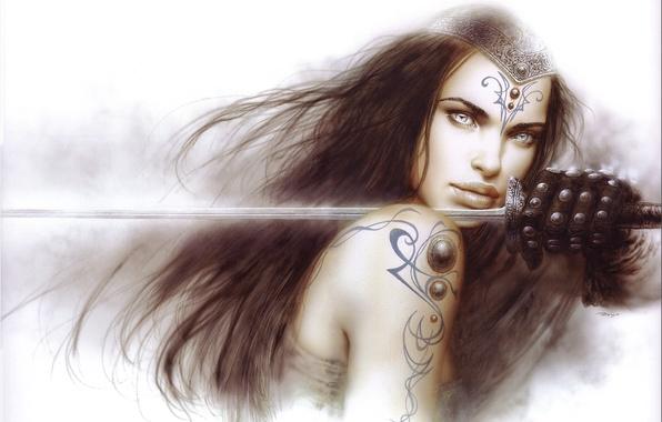 Картинка девушка, оружие, меч, воин, арт, Luis Royo