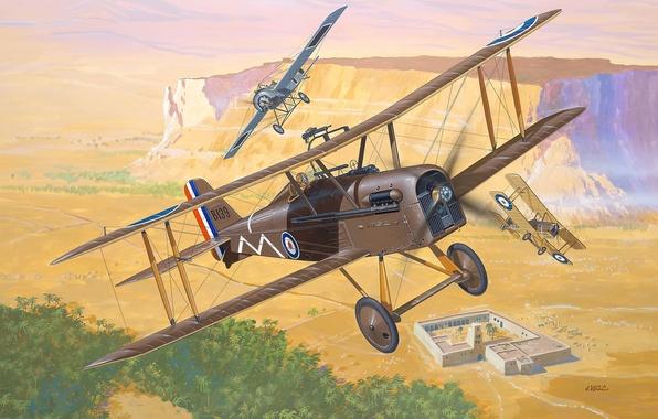Картинка самолет, один, истребитель, арт, ВВС, биплан, английских, одноместный, истребителей, Великобритании, Первой мировой войны, WWI., S.E.5a, ...