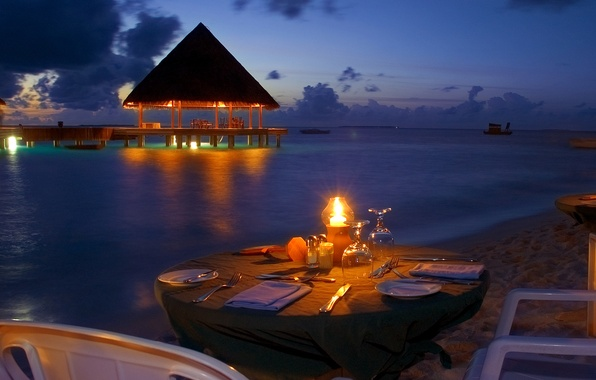 Картинка пляж, океан, романтика, вечер, beach, ocean, sunset, view, romantic, ужин, dinner