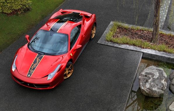 Картинка красный, Феррари, Италия, Китай, Ferrari, суперкар, 458, передок, Italia, спец.версия, China 20th Anniversary, Special Edition