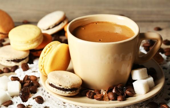 Картинка кофе, зерна, печенье, чашка, десерт, sweet, dessert, cookies, macaron, макарун, almond
