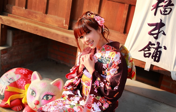 Картинка взгляд, девушка, лицо, улыбка, стиль, одежда, кимоно, азиатка