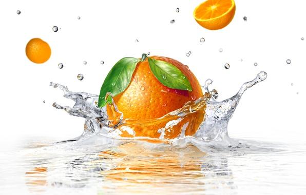 Картинка вода, брызги, апельсин, белый фон, water, orange, white background, sprays