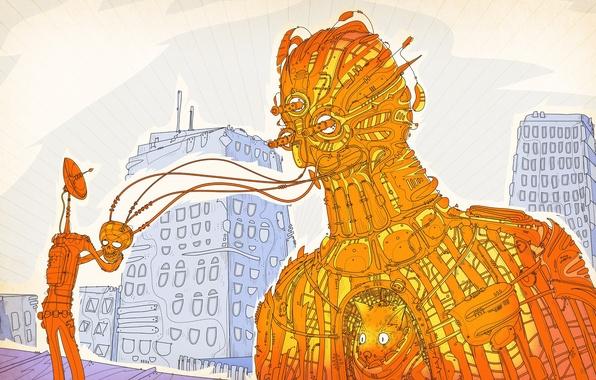 Картинка абстракция, здания, робот, существо, matei apostolescu