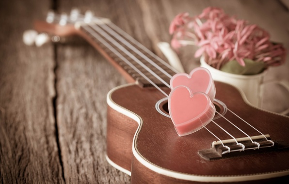 Картинка цветы, сердце, гитара, love, vintage, heart, romantic