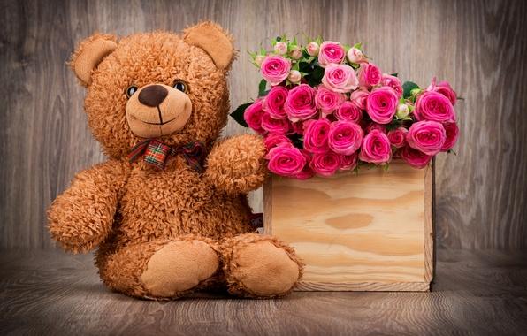 Картинка корзина, розы, букет, мишка, bear, pink, flowers, romantic, roses, basket, with love, Teddy