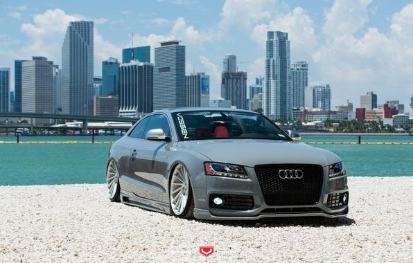 Картинка машина, авто, вода, Audi, Ауди, перед, wheels, диски, auto, Vossen Wheels