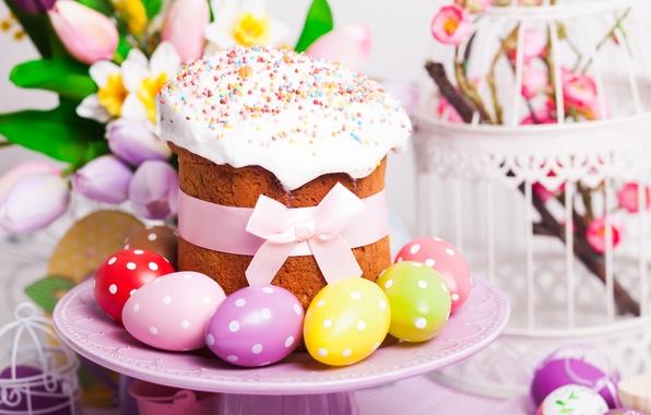 Картинка яйца, Пасха, тюльпаны, cake, кулич, выпечка, tulips, глазурь, spring, Easter, eggs, holiday, blessed
