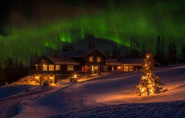 Картинка зима, дом, праздник, северное сияние, Норвегия, ёлка