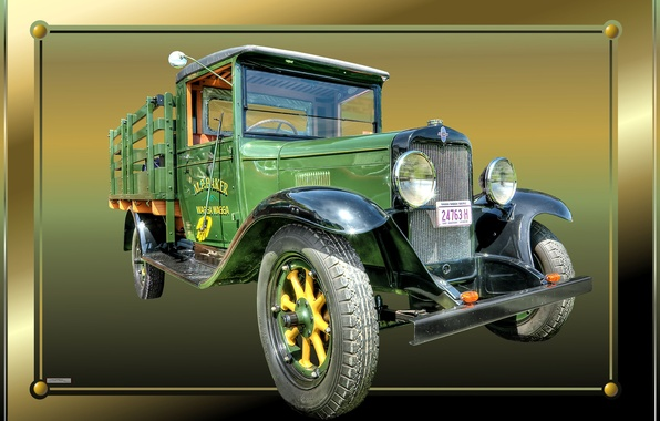 Картинка рамка, грузовик, старый, раритет, винтаж