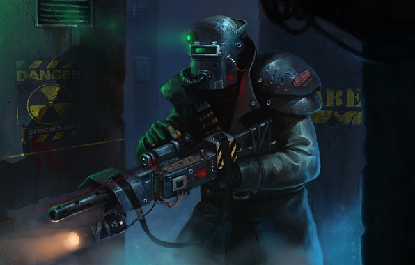 Картинка lights, dark, gun, soldier, armor, fear, mystery, modified welding helmet