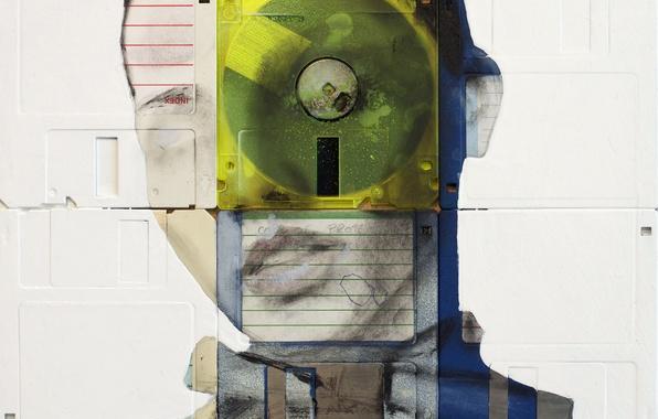 Картинка взгляд, девушка, глаз, стиль, рисунок, краска, портрет, арт, дискеты, флоппи-арт, Nick Gentry, Ник Гентри, floppy-art