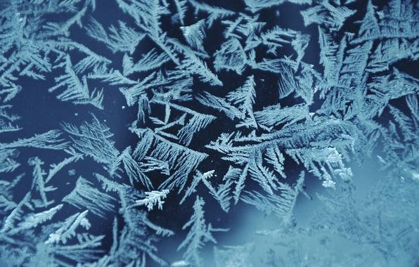 Картинка стекло, снежинки, узор, лёд, Снег, мороз, узор на окне