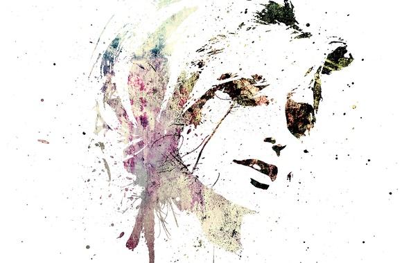 Картинка девушки, на белом фоне, Рисуно
