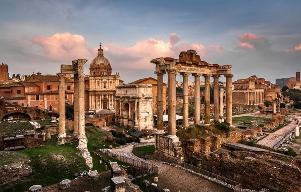 Картинка площадь, Рим, Италия, колонны, руины, Italy, Rome, Триумфальная арка, Римский форум, Храм Сатурна, Roman Forum, …