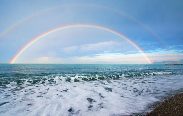 Картинка море, волны, небо, вода, облака, природа, фон, widescreen, обои, волна, радуга, горизонт, wallpaper, широкоформатные, background, …