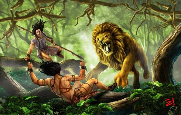 Картинка лес, хищник, лев, джунгли, арт, охота, ножи, forest, охотники, art, lion, копья, дикий, wild, Evren-ince, …