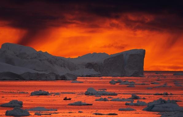 Картинка море, закат, лёд, Greenland