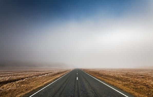 Картинка дорога, поле, небо, асфальт, пейзаж, природа, трасса, утро, road, sky, field, landscape, nature, morning, 2560x1600, …