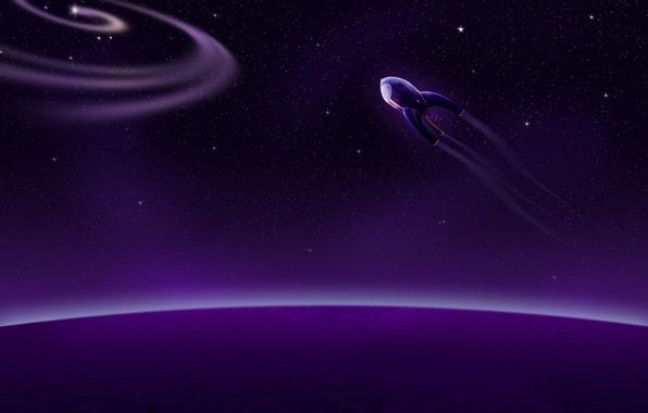 Фото обои звезды, планеты, космическиq кораблm, пурпурный