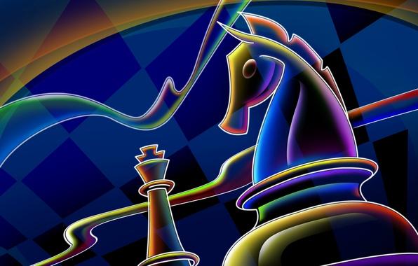 Картинка линии, синий, конь, шахматы, клетки, 2014