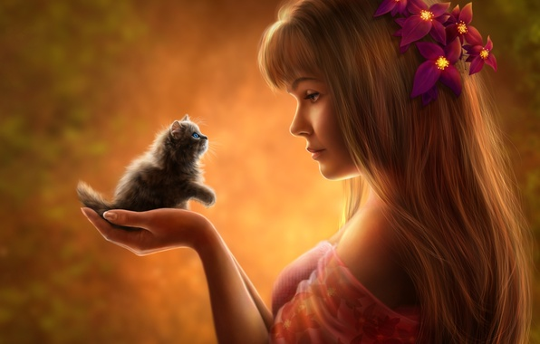 Картинка девушка, цветы, котенок, настроение, волосы