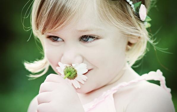 Картинка цветок, настроение, ромашка, девочка, ребёнок
