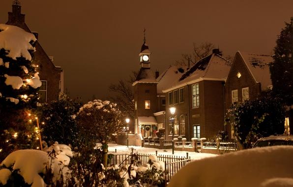 Картинка зима, свет, снег, город, улица, здания, рождество, вечер, церковь, Нидерланды