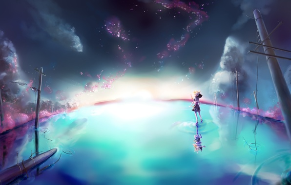 Картинка небо, вода, девушка, звезды, облака, отражение, столбы, наушники, арт, парень, vocaloid, kagamine rin, вокалоид, kagamine …
