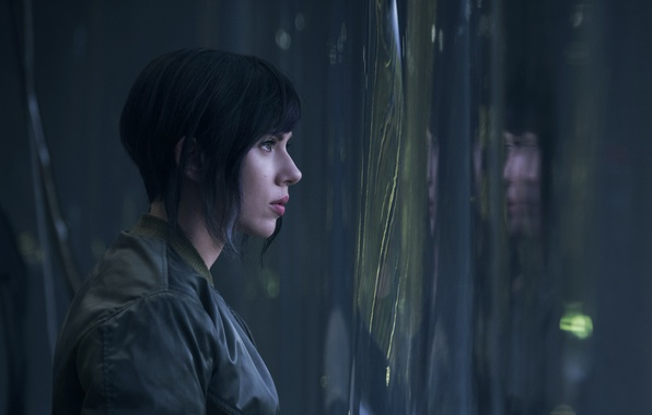 Картинка Scarlett Johansson, cinema, wallpaper, green eyes, woman, anime, short hair, movie, Ghost in the Shell, …