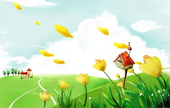 Картинка лето, облака, цветы, дом, рисунок